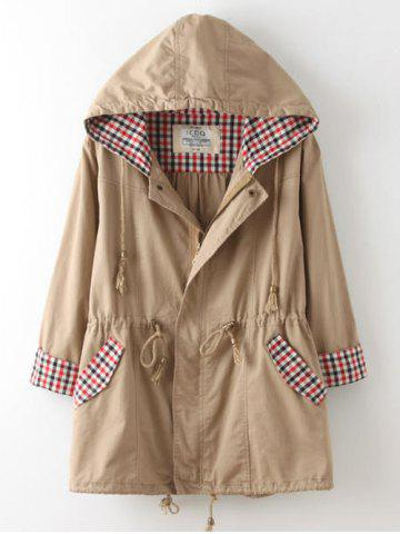 Hot Drawstring Plaid Pocket Design Coat