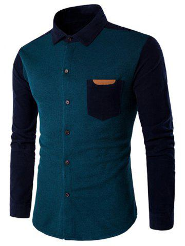 Online Color Block Spliced Long Sleeve Pocket Shirt