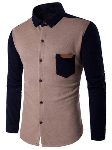 Fashion Color Block Spliced Long Sleeve Pocket Shirt