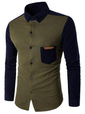 Discount Color Block Spliced Long Sleeve Pocket Shirt