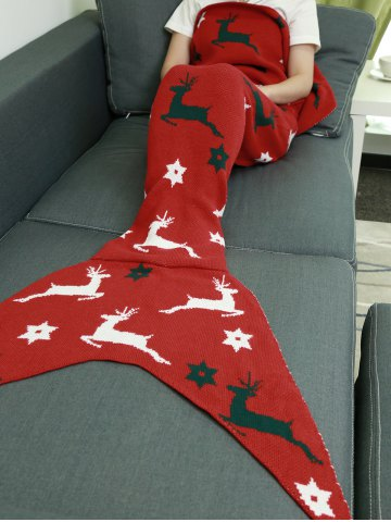 Online Comfortable Christmas Deer Wrap Mermaid Knitted Blankets and Throws - RED  Mobile