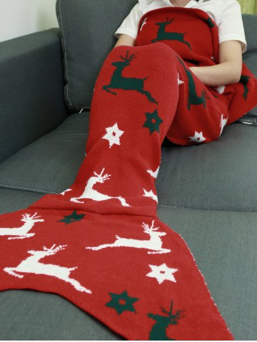 Store Comfortable Christmas Deer Wrap Mermaid Knitted Blankets and Throws - RED  Mobile