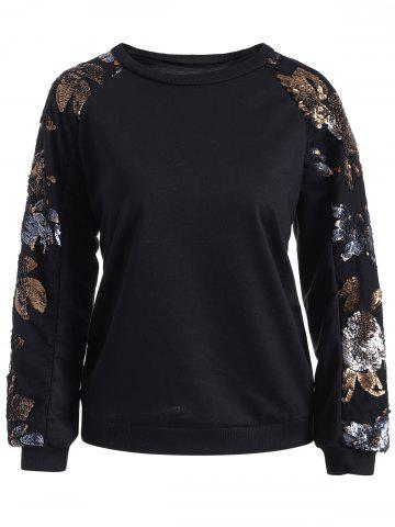 Best Sequins Embellished Flower Pullover Sweatshirt
