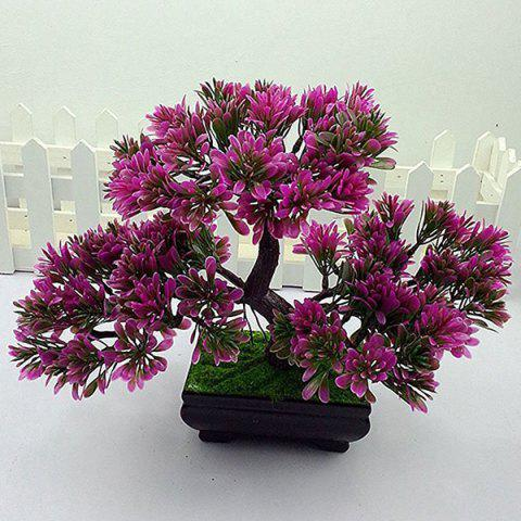Trendy Simulation Craft Artificial Evergreen Tree Bonsai Decoration PURPLE