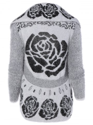 Affordable Fluffy Flower Jacquard Cardigan - ONE SIZE WHITE Mobile