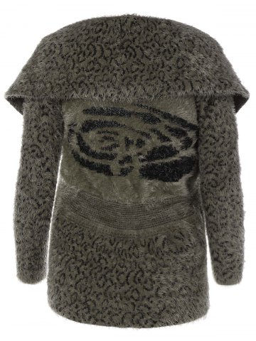 Trendy Fluffy Faux Fur Leopard Cardigan - ONE SIZE LEOPARD Mobile