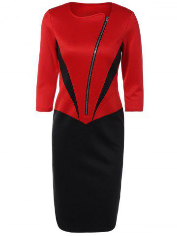 Trendy Color Block Zipper Bodycon Dress With Sleeves - 2XL RED Mobile