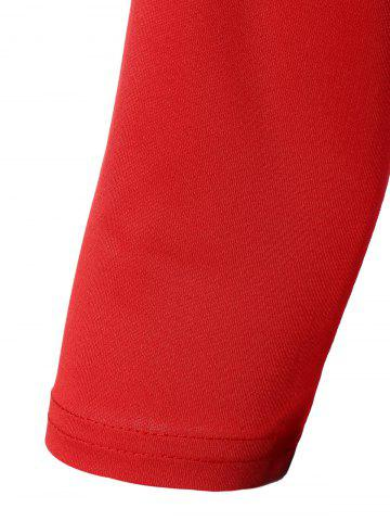 Cheap Color Block Zipper Bodycon Dress With Sleeves - 2XL RED Mobile