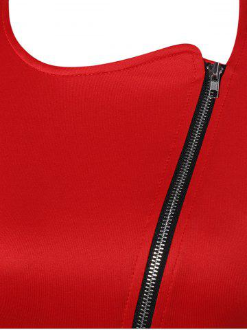 Unique Color Block Zipper Bodycon Dress With Sleeves - 2XL RED Mobile