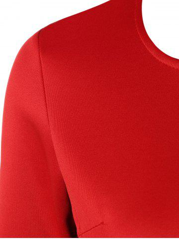 Outfit Color Block Zipper Bodycon Dress With Sleeves - L RED Mobile
