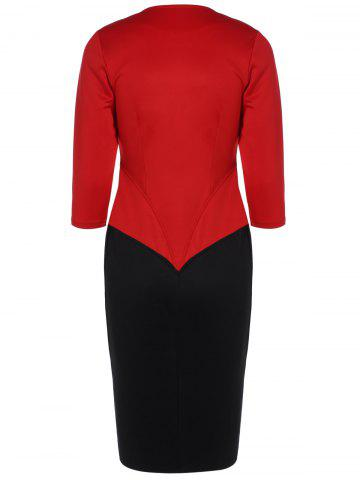 Fashion Color Block Zipper Bodycon Dress With Sleeves - L RED Mobile