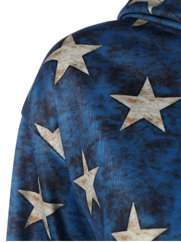 Shop American Flag Printed Loose Hoodie - 2XL COLORMIX Mobile