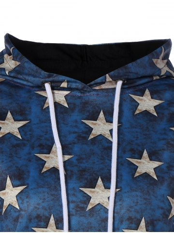 Trendy American Flag Printed Loose Hoodie - 2XL COLORMIX Mobile