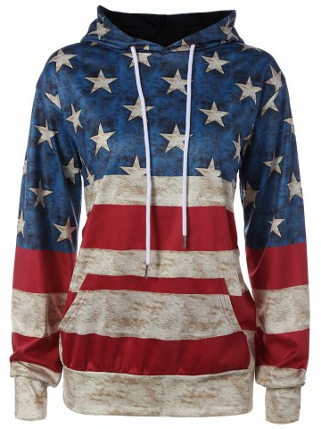Trendy American Flag Printed Loose Hoodie - L COLORMIX Mobile