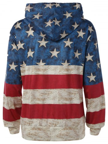 Unique American Flag Printed Loose Hoodie - M COLORMIX Mobile