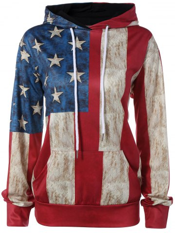 Unique Pullover American Flag Print Hoodie COLORMIX 2XL