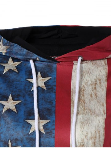 New Pullover American Flag Print Hoodie - L COLORMIX Mobile