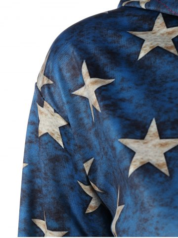 Shop Pullover American Flag Print Hoodie - M COLORMIX Mobile