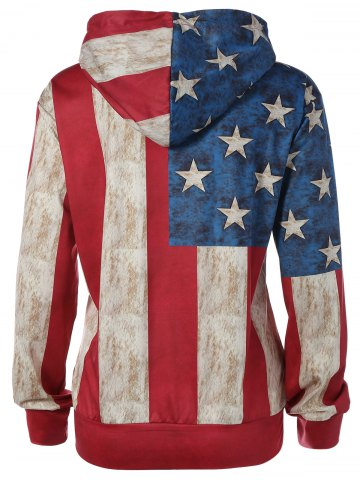 New Pullover American Flag Print Hoodie - M COLORMIX Mobile
