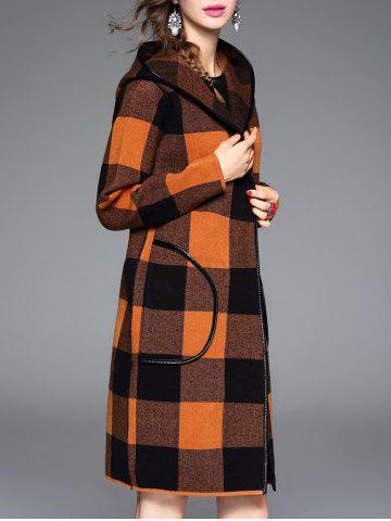 Shops Checked Hooded Cashmere Coat - ONE SIZE ORANGE Mobile