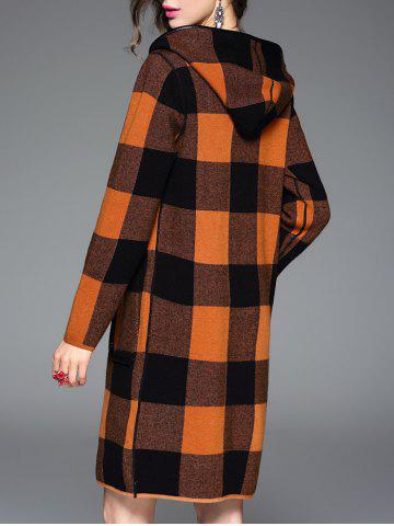 Sale Checked Hooded Cashmere Coat - ONE SIZE ORANGE Mobile