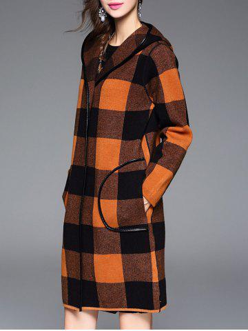 Best Checked Hooded Cashmere Coat - ONE SIZE ORANGE Mobile
