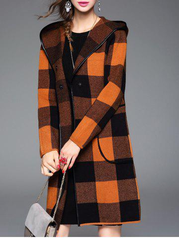 Unique Checked Hooded Cashmere Coat - ONE SIZE ORANGE Mobile