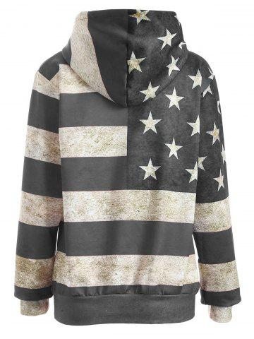 Store American Flag Print Pullover Hoodie - 3XL GRAY Mobile