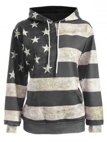 Buy American Flag Print Pullover Hoodie - XL GRAY Mobile