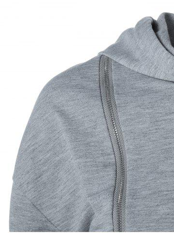 Trendy String Cropped Zippered Hoodie - L GRAY Mobile