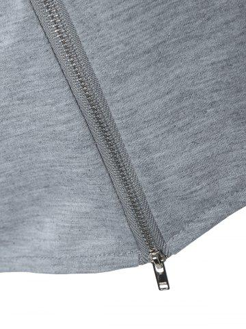 Hot String Cropped Zippered Hoodie - L GRAY Mobile