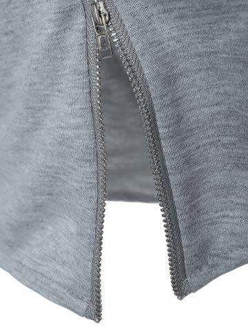 Hot String Cropped Zippered Hoodie - M GRAY Mobile