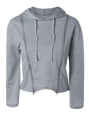 Fancy String Cropped Zippered Hoodie - M GRAY Mobile