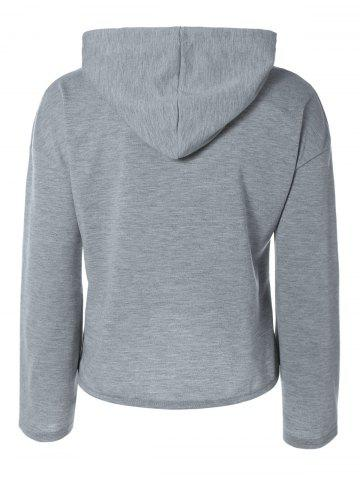 Trendy String Cropped Zippered Hoodie - M GRAY Mobile