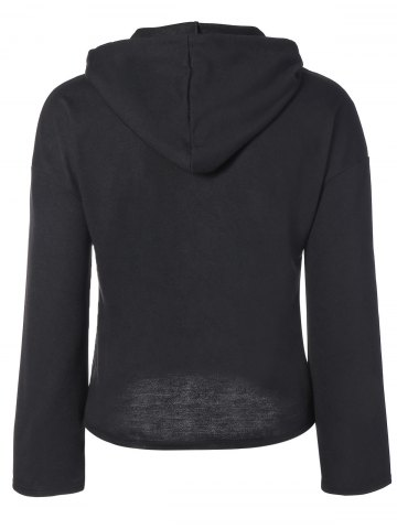 Discount String Cropped Zippered Hoodie - M BLACK Mobile