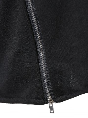 Fancy String Cropped Zippered Hoodie - M BLACK Mobile