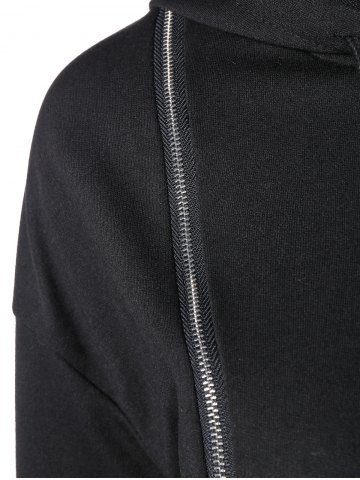 Fancy String Cropped Zippered Hoodie - S BLACK Mobile