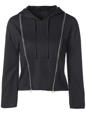 Discount String Cropped Zippered Hoodie - S BLACK Mobile