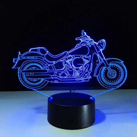 Discount USB 3D Motorcycle Shape Touch Colorful Night Light TRANSPARENT