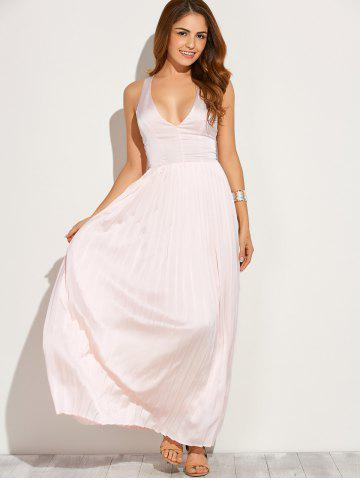 Buy Backless Maxi Floor Length Pleated Wedding Guest Prom Dress - L PINK Mobile