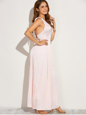 Unique Backless Maxi Floor Length Pleated Wedding Guest Prom Dress - L PINK Mobile