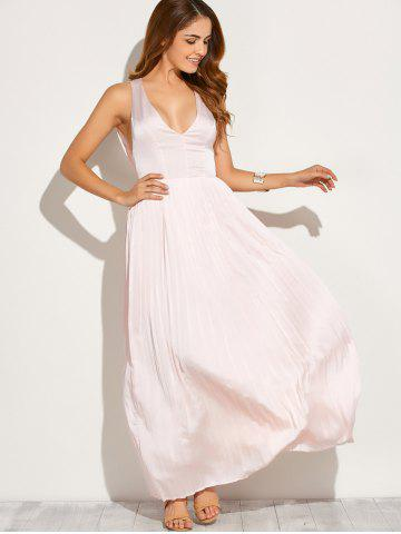 Store Backless Maxi Floor Length Pleated Wedding Guest Prom Dress - L PINK Mobile