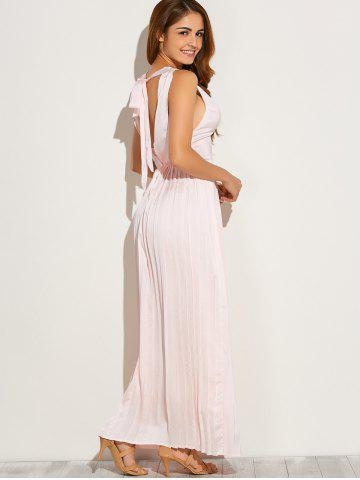 Online Backless Maxi Floor Length Pleated Wedding Guest Prom Dress - L PINK Mobile