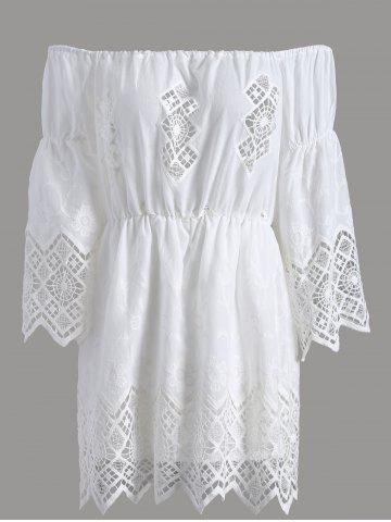 Affordable Off The Shoulder Lace Cut Out Romper - XL WHITE Mobile
