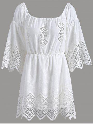 Affordable Off The Shoulder Lace Cut Out Romper - L WHITE Mobile