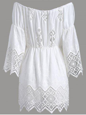 Hot Off The Shoulder Lace Cut Out Romper - S WHITE Mobile