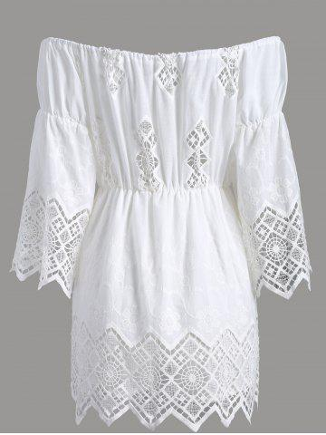 Best Off The Shoulder Lace Cut Out Romper - S WHITE Mobile