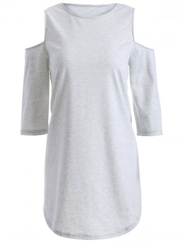 Shops Slash Neck 3/4 Sleeve Loose Cold Shoulder T-Shirt
