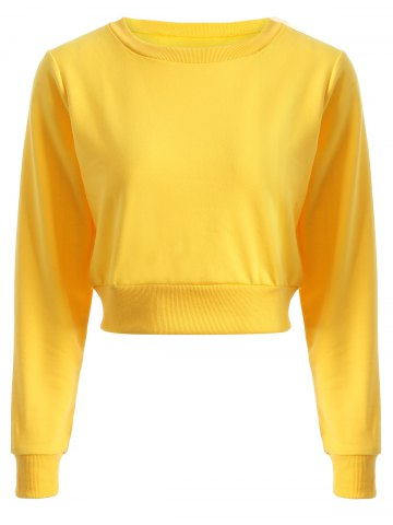 Shops Long Sleeve Casual Sports Cropped Sweatshirt - L YELLOW Mobile
