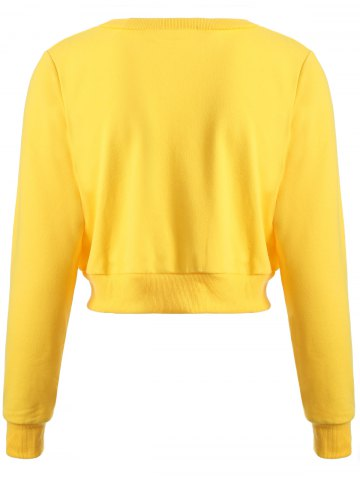 Sale Long Sleeve Casual Sports Cropped Sweatshirt - L YELLOW Mobile